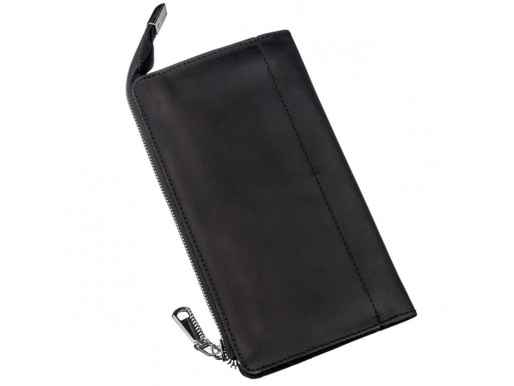 Клатч кожаный матовый SHVIGEL 16191 Черный, Черный - Royalbag