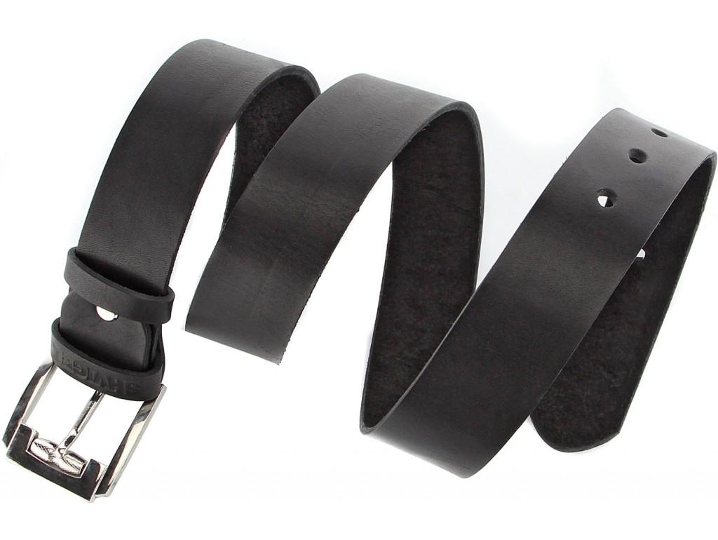 Мужской ремень SHVIGEL 10084 кожаный черный, Черный - Royalbag