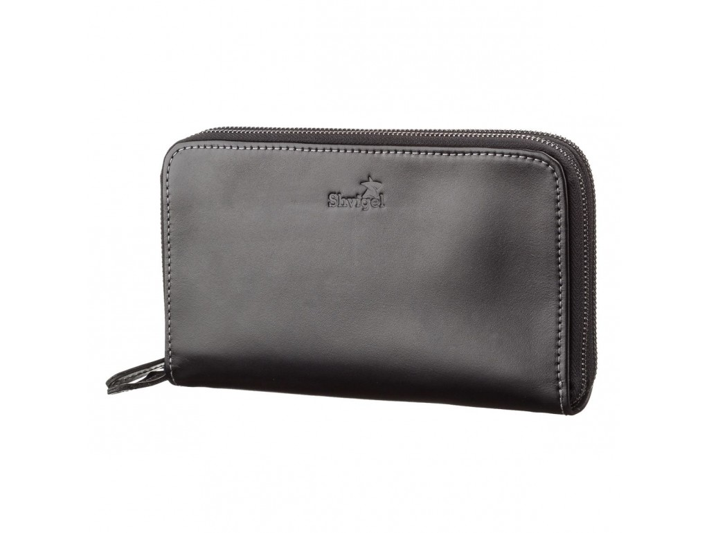 Мужской клатч SHVIGEL 11082 кожаный Черный, Черный - Royalbag
