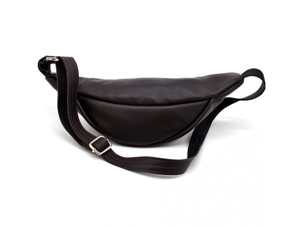 Поясная кожаная сумка средняя с фастексом, коричневая кожа TARWA FC-3005-4lx - Royalbag