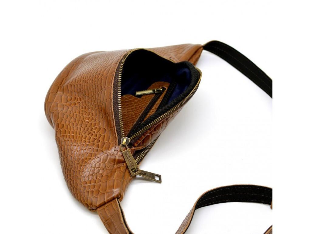Рыжая напоясная сумка с тиснением  - Royalbag