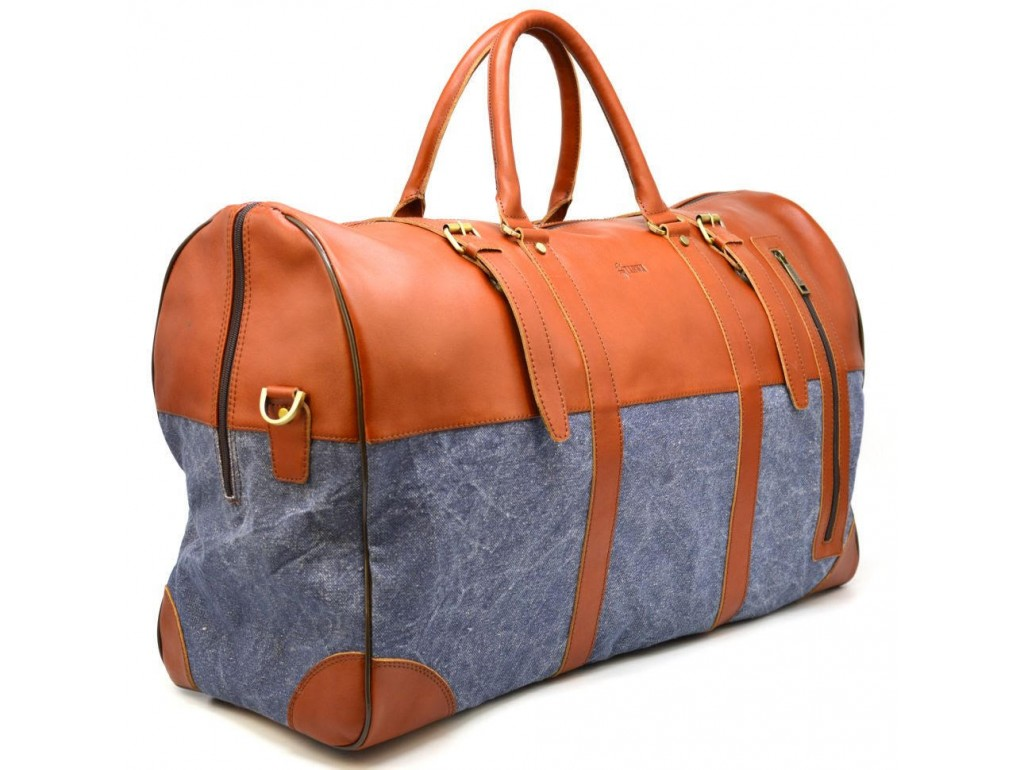 Большая дорожная сумка из кожи и текстиля Canvas GB-1633-4lx TARWA - Royalbag