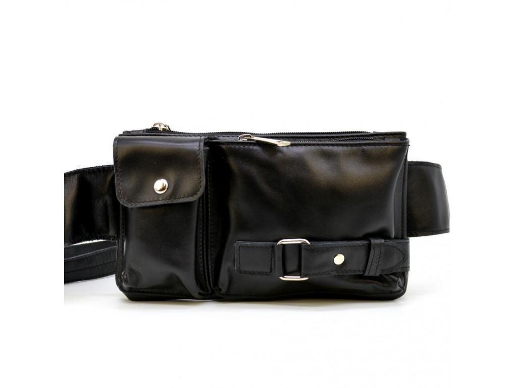 Кожаная сумка на пояс GA-8135-3md, черная, бренд Tarwa - Royalbag