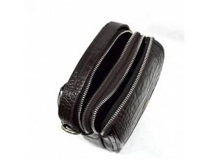 Барсетка кожа мягкая DESISAN 1344-19 коричневый кроко - Royalbag