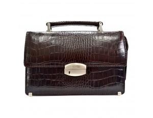 Барсетка кожа Desisan 1081-19 коричневый кроко - Royalbag