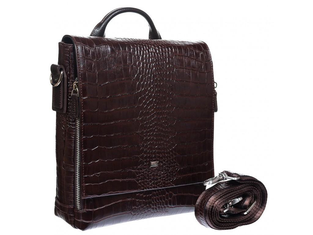 Барсетка кожа мягкая DESISAN 344-19 коричневый кроко - Royalbag