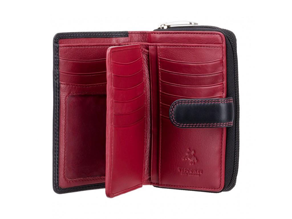 Кошелек женский Visconti CD22 Ruby (Black Red) - Royalbag
