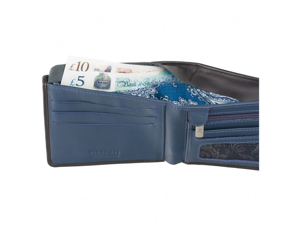 Кошелек мужской Visconti VSL33 TAP-N-GO c RFID (Black-Steel Blue) - Royalbag