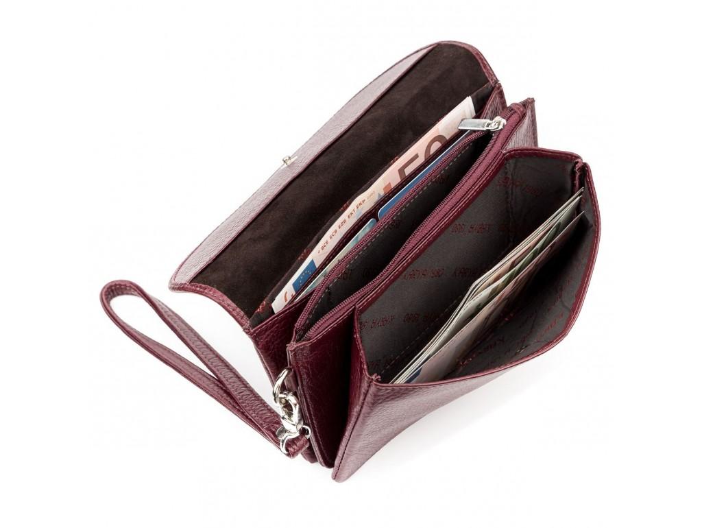 Кошелек-клатч женский KARYA 17075 кожаный Бордовый - Royalbag