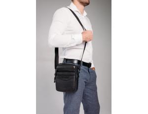 Кожаная мужская сумка-мессенджер черная Allan Marco RR-9055A - Royalbag