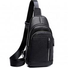Мужской черный кожаный слинг на плечо Tiding Bag A25F-5427A - Royalbag Фото 2