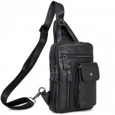 Мужской кожаный рюкзак-слинг на одно плечо Tiding Bag 4006A - Royalbag