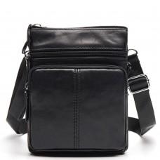 Сумка мужская кожаная через плечо маленькая черная BexhillBx124A - Royalbag
