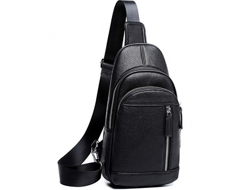 Мужской черный кожаный слинг на плечо Tiding Bag A25F-5427A - Royalbag Фото 1