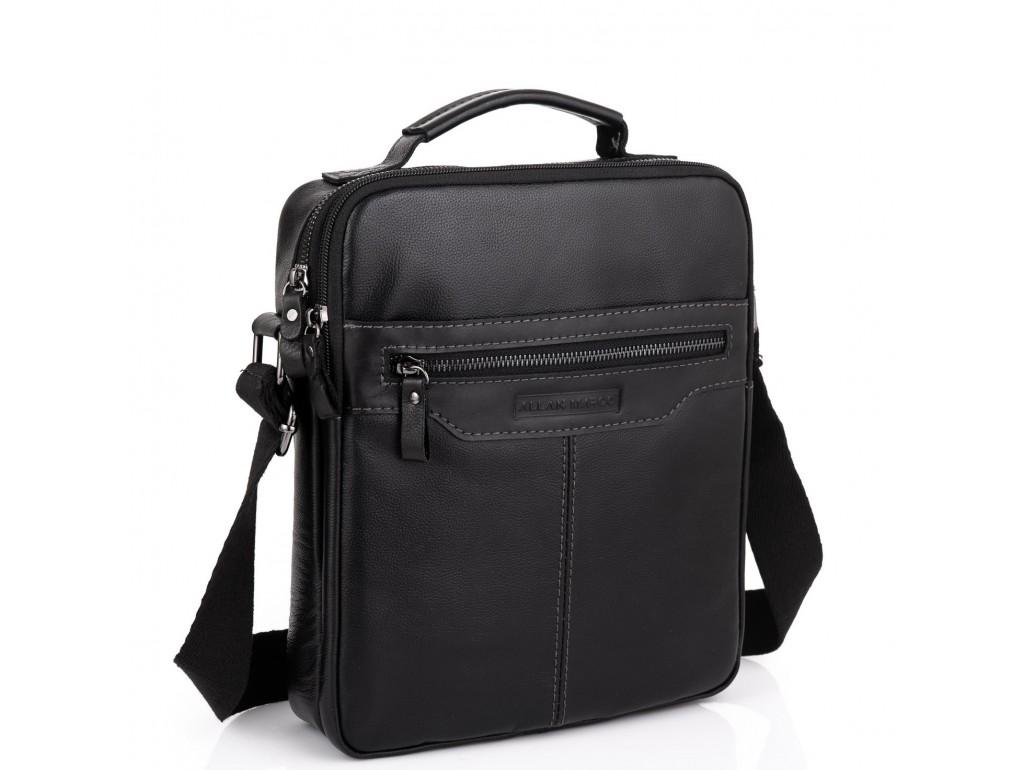 Мужская черная сумка через плечо Allan Marco RR-4083A - Royalbag Фото 1