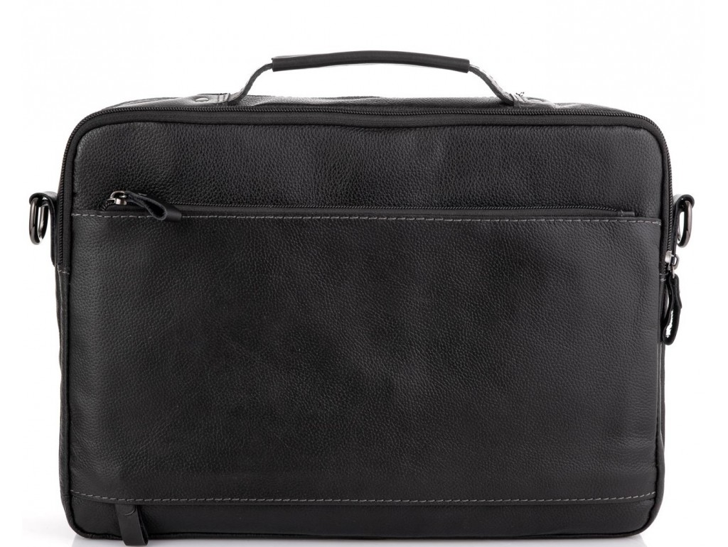 Мужская кожаная черная сумка для ноутбука Allan Marco RR-4104A - Royalbag