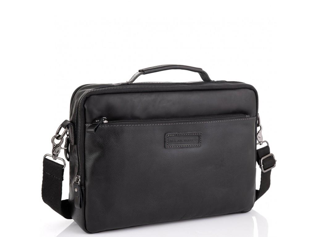 Мужская кожаная черная сумка для ноутбука Allan Marco RR-4104A - Royalbag Фото 1
