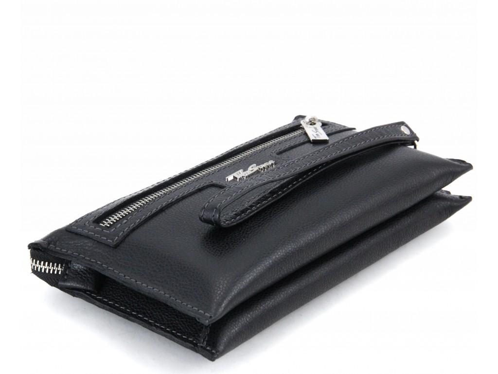 Мужская кожаная черная барсетка Tom Stone К2 - Royalbag