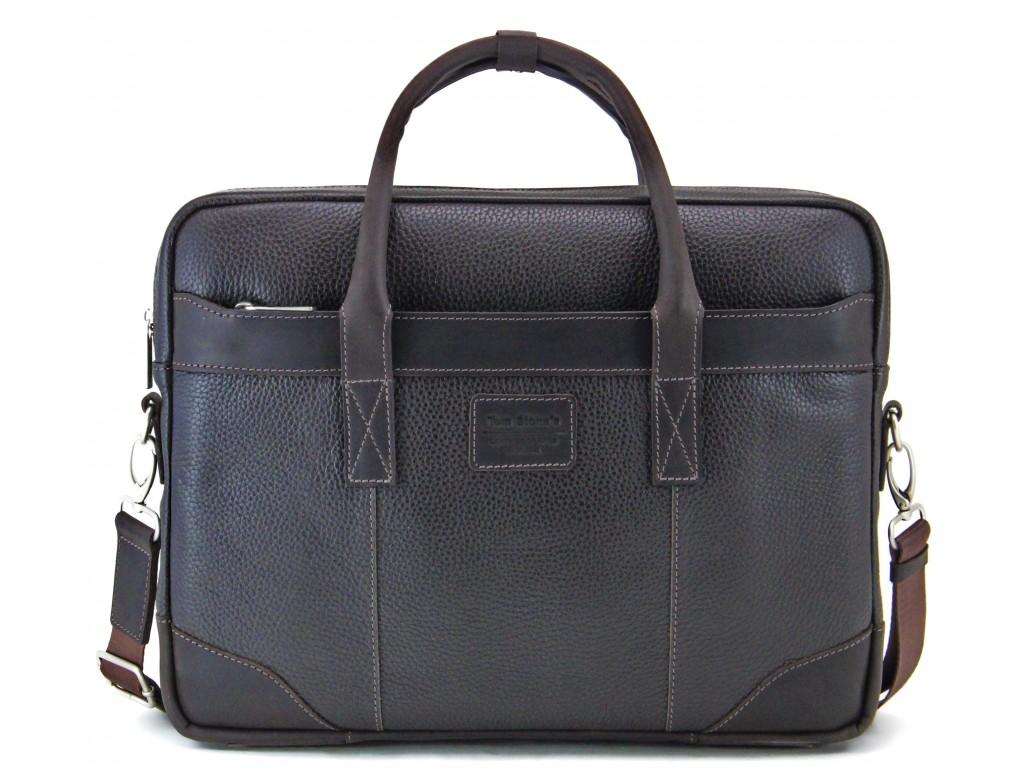 Мужская деловая кожаная сумка для ноутбука Tom Stone 715BR - Royalbag