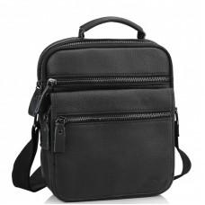 Чоловіча шкіряна сумка-барсетка на плече чорна Tiding Bag M35-8852A - Royalbag Фото 2