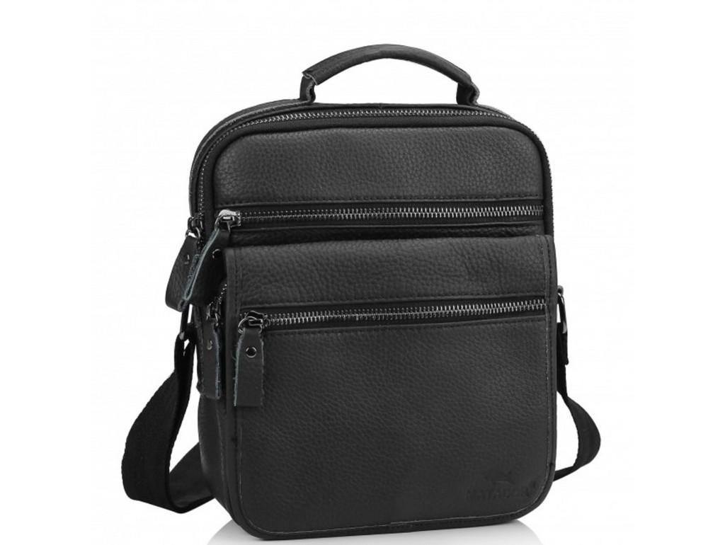 Чоловіча шкіряна сумка-барсетка на плече чорна Tiding Bag M35-8852A - Royalbag Фото 1