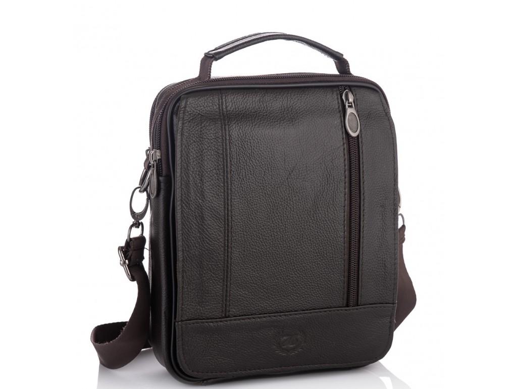 Мужская кожаная сумка-барсетка с плечевым ремнем коричневая HD Leather NM24-213C-1 - Royalbag Фото 1