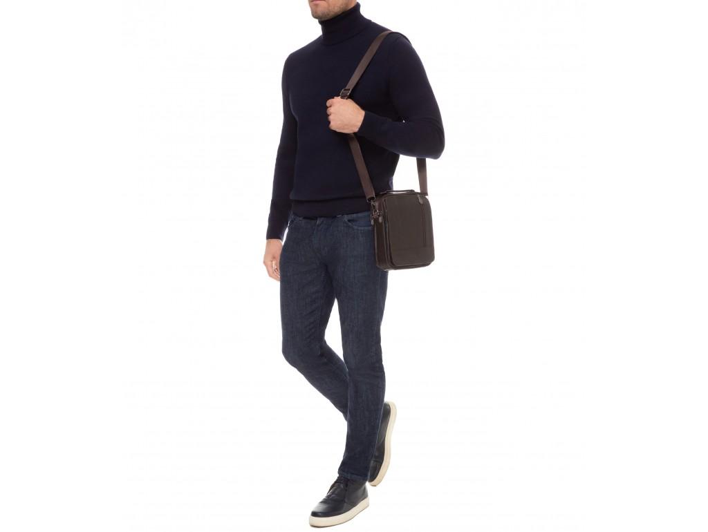 Мужская кожаная сумка-барсетка с плечевым ремнем коричневая HD Leather NM24-213C-1 - Royalbag