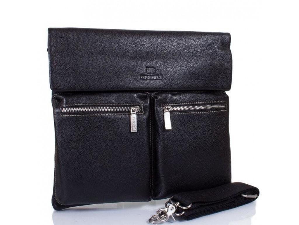 Кожаная мужская сумка через плечо Lareboss 8259-1 BLACK - Royalbag Фото 1
