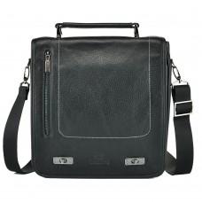 Мужская кожана сумка-барсекта через плечо с ручкой Lareboss 89134-1black - Royalbag