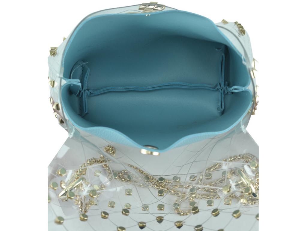 Сумочка-джеллі прозора з заклепками Mona W04-10024BL - Royalbag