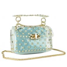 Сумочка-джелли прозрачная с заклепками Mona W04-10024BL - Royalbag