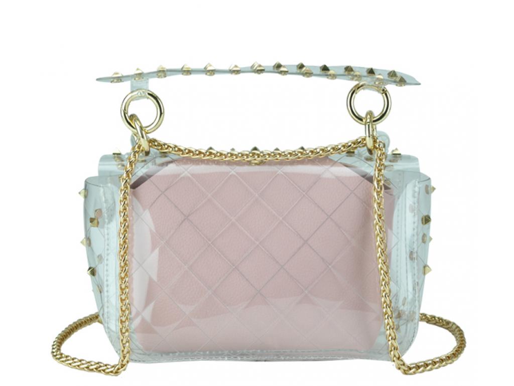 Сумочка-джеллі прозора з заклепками рожева Mona W04-10024P - Royalbag
