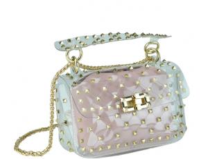 Сумочка-джелли прозрачная с заклепками розовая Mona W04-10024P - Royalbag
