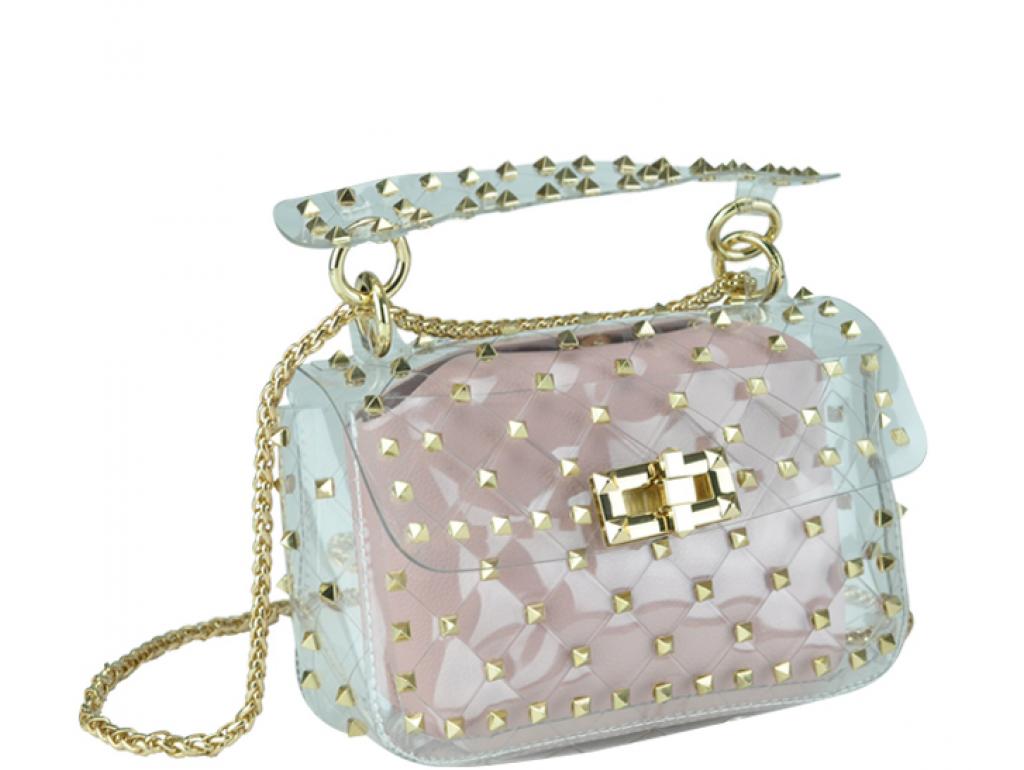 Сумочка-джелли прозрачная с заклепками розовая Mona W04-10024P - Royalbag Фото 1
