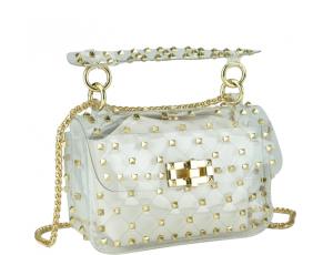 Сумочка-джелли прозрачная с заклепками белая Mona W04-10024W - Royalbag