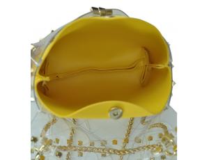 Сумочка-джелли прозрачная с заклепками желтая Mona W04-10024Y - Royalbag