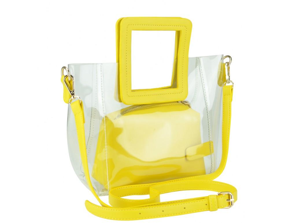 Сумочка-джеллі на плече прозора жовта Mona W04-8992Y - Royalbag Фото 1