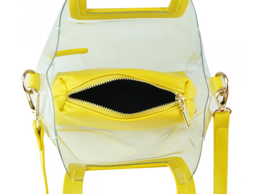 Сумочка-джеллі на плече прозора жовта Mona W04-8992Y - Royalbag