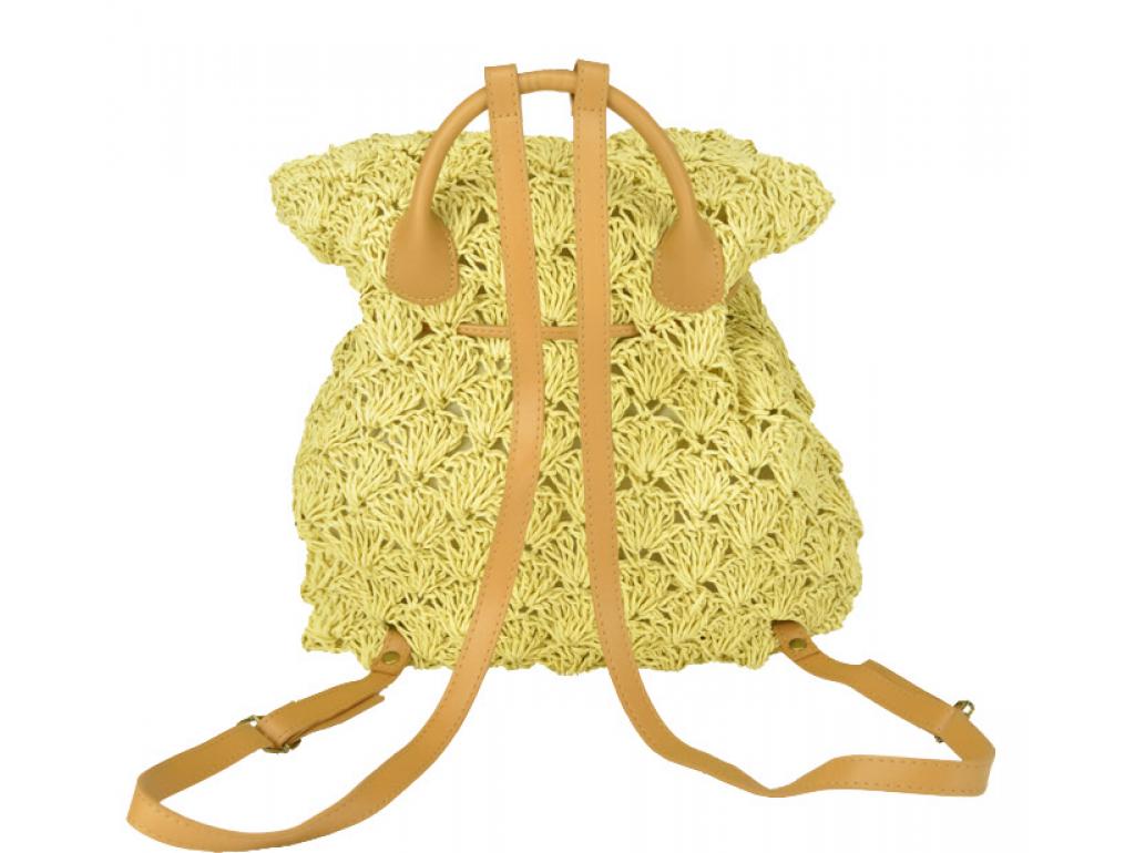 Плетеная сумка-рюкзак бежевая Mona WS03-3357BG - Royalbag