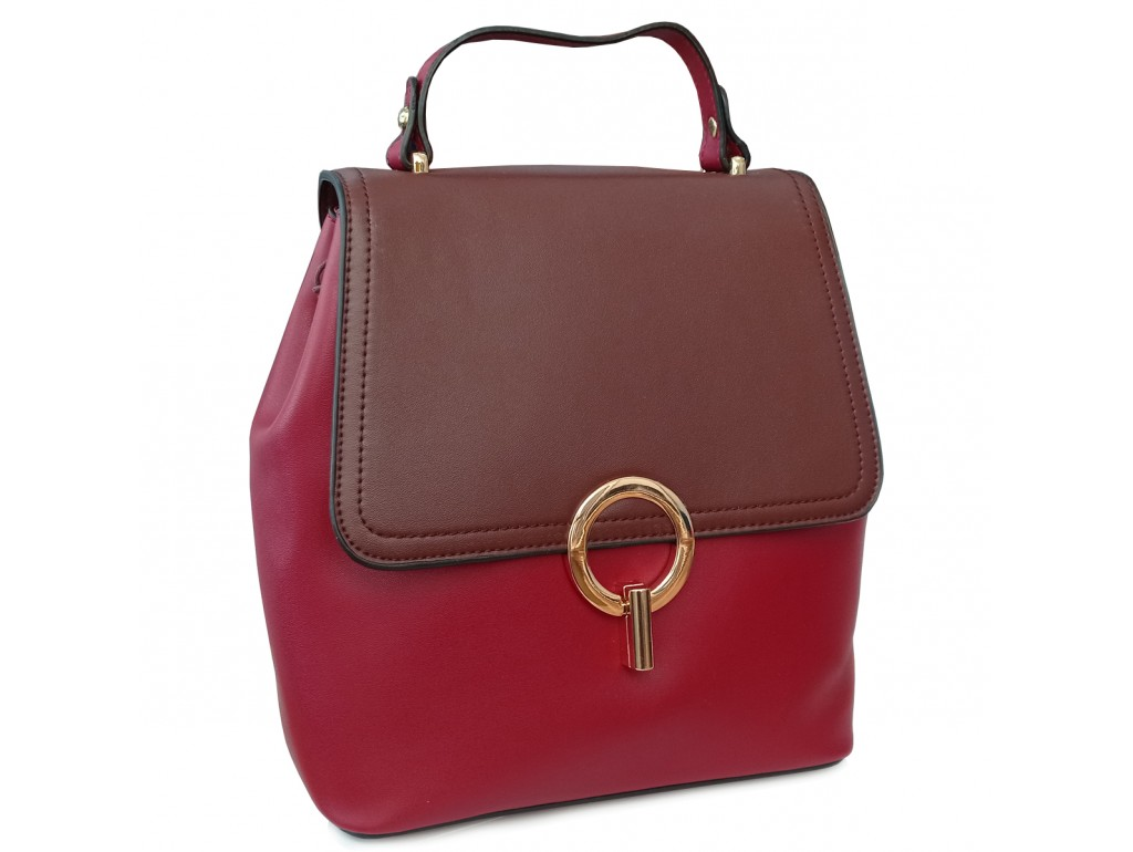 Рюкзак двоколірний червоно-коричневий Olivia Leather F-S-Y01-7002R - Royalbag Фото 1