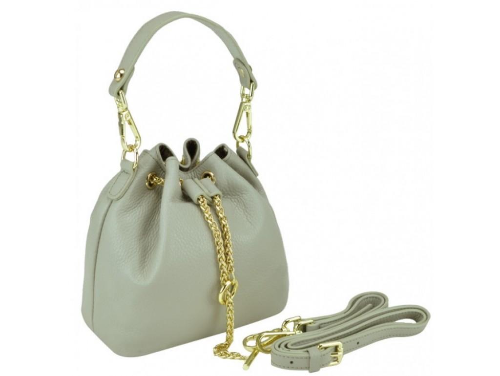 Женская кожаная сумочка-кисет серая Riche W14-2126G - Royalbag Фото 1