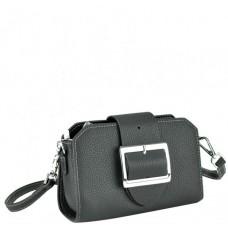 Классическая кожаная сумка-багет женская черная маленькая Riche W14-7712A - Royalbag