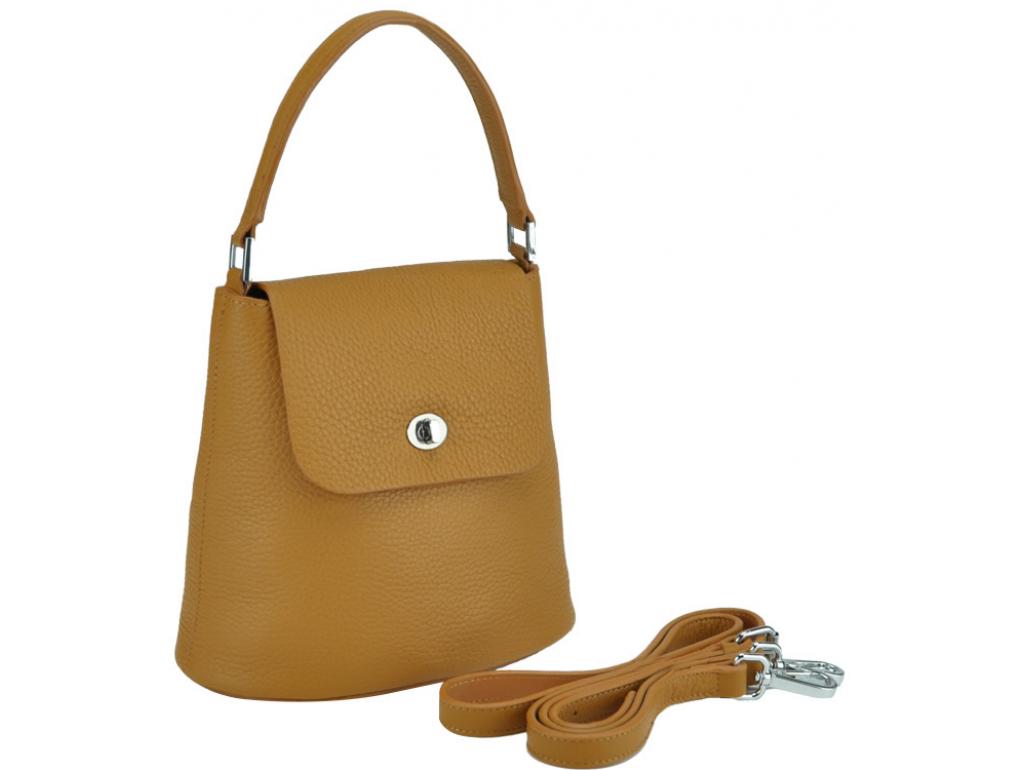 Жіноча шкіряна сумочка бакет коричнева Riche W14-7718LB - Royalbag Фото 1