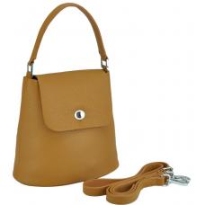 Женская кожаная сумочка бакет коричневая Riche W14-7718LB - Royalbag