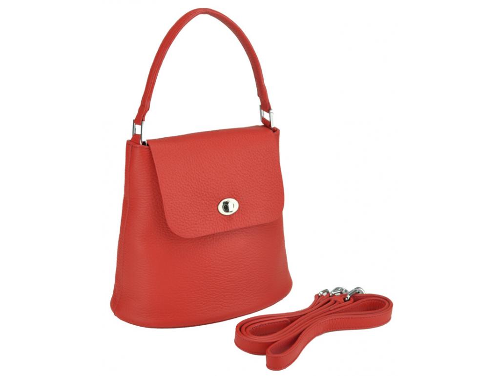 Женская кожаная сумочка бакет красная Riche W14-7718R - Royalbag Фото 1