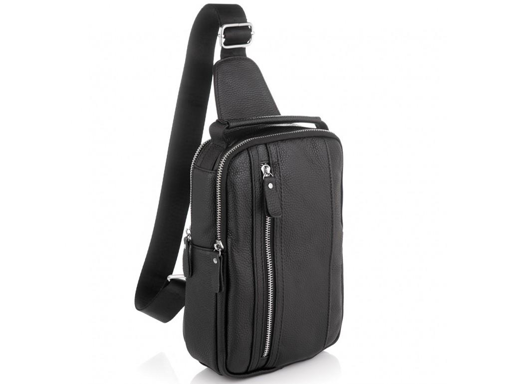 Мужской кожаный слинг на одно плечо черный Tiding Bag A25F-693A - Royalbag Фото 1