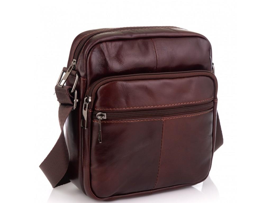 Кожаная мужская сумка через плечо коричневая Tiding Bag NM20-2610C - Royalbag Фото 1