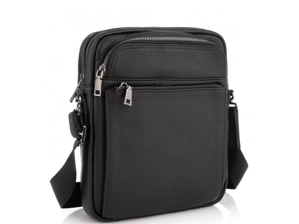 Элитная кожаная мужская сумка через плечо черная Royal Bag RB-008A-1 - Royalbag Фото 1