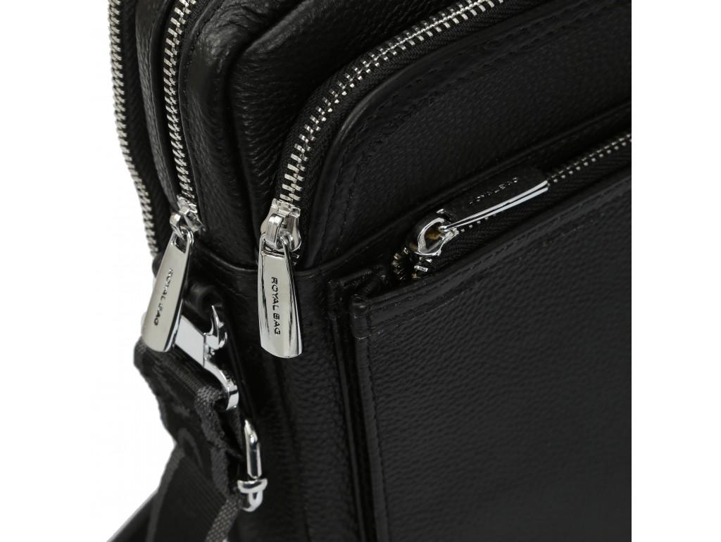 Элитная кожаная мужская сумка через плечо черная Royal Bag RB-008A-1