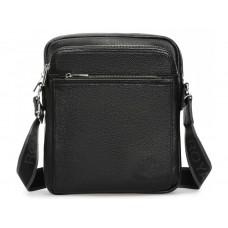 Элитная кожаная мужская сумка через плечо черная Royal Bag RB-008A-1 - Royalbag